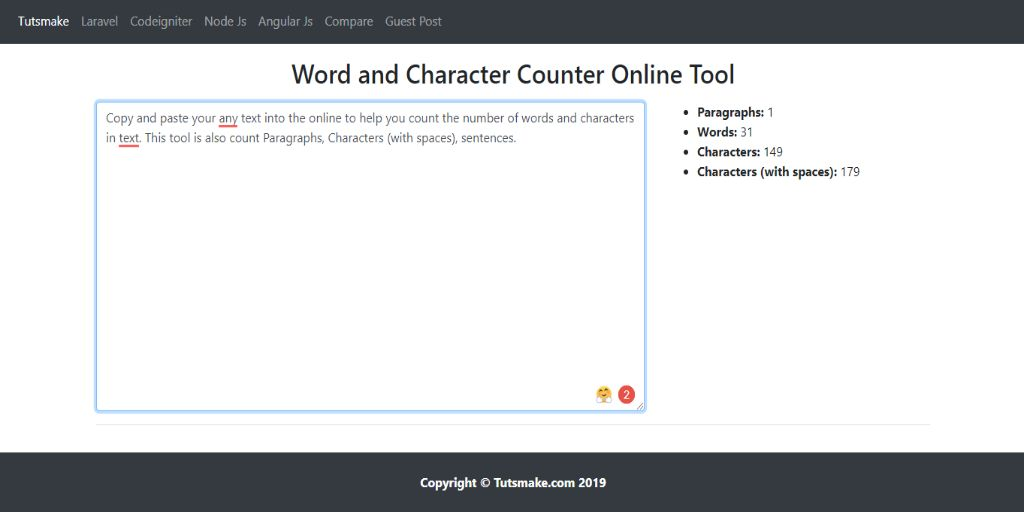 Word and Character Counter Online Tool