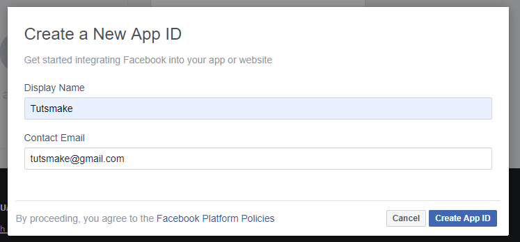 create facebook app with laravel