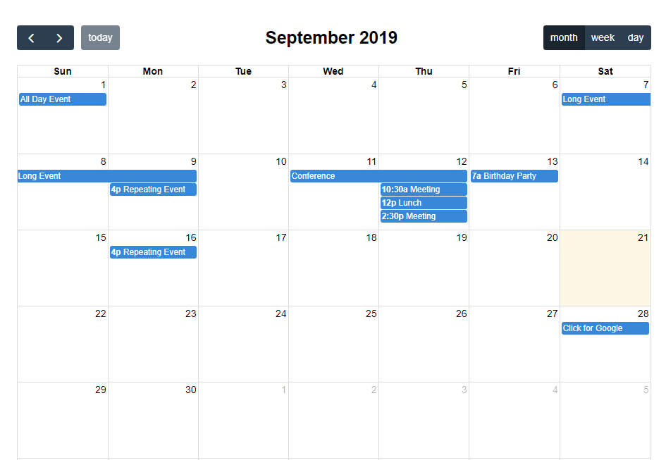 Laravel FullCalendar (Ajax) Example Tutorial