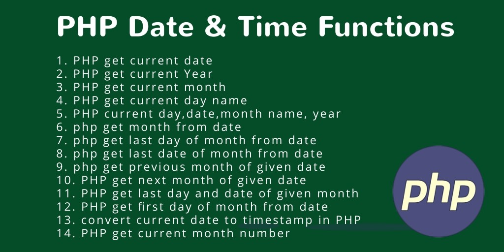 PHP Function: Date and Time  With Examples