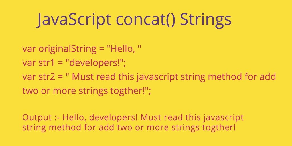 JavaScript Concatenate Strings | String concat() Method