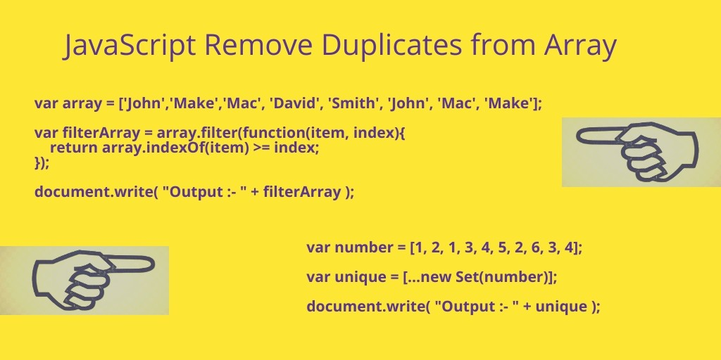 Remove Duplicates From an Array JavaScript