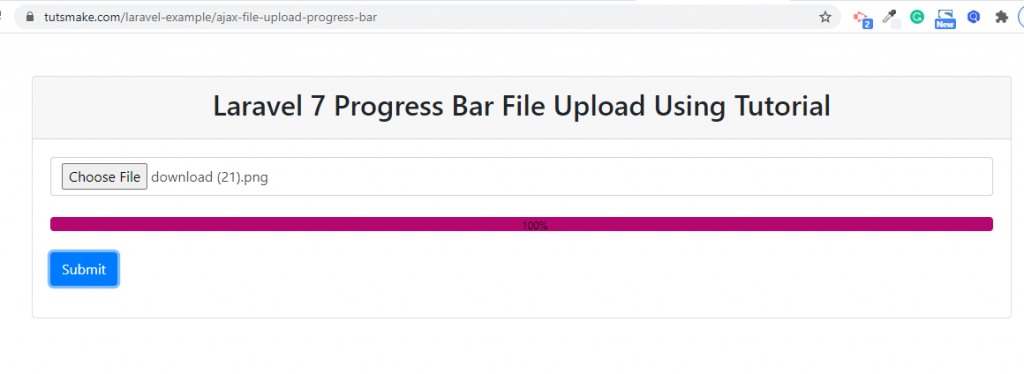 laravel ajax file upload with progress bar