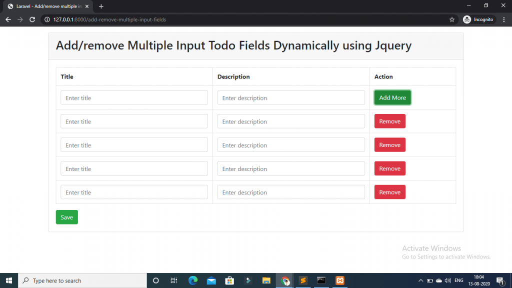 add/remove multiple input fields dynamically with jquery laravel
