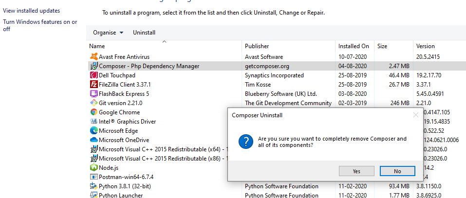 ask for uninstall composer from windows