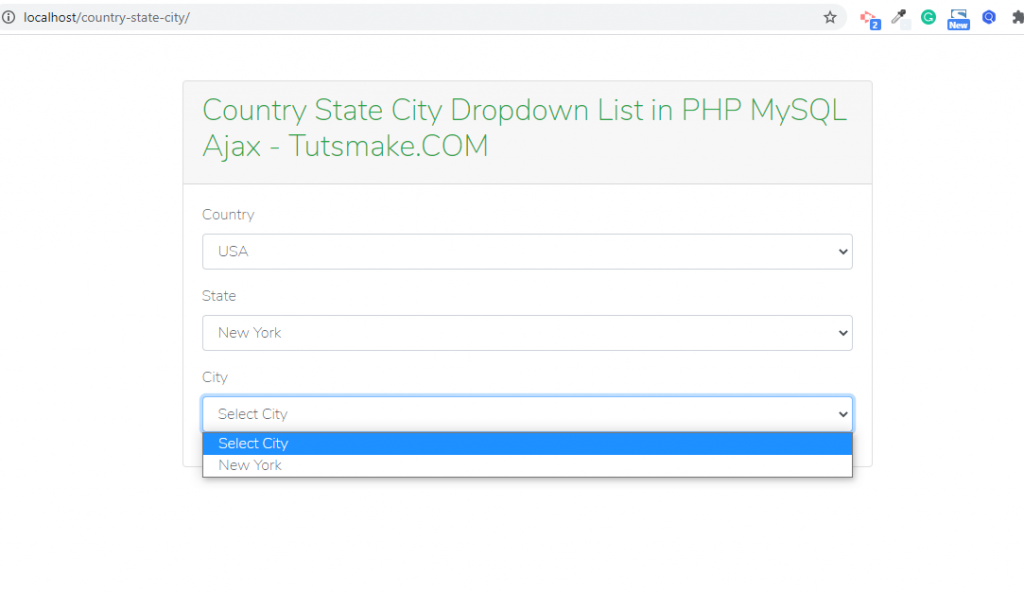 country state city dropdown using ajax in php