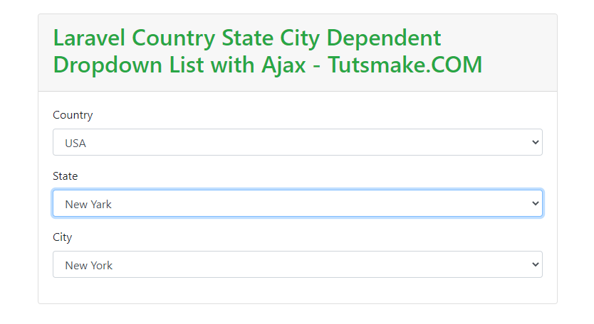 country state city dropdown using ajax in laravel
